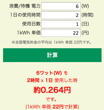 6ワット(W)を 2時間 x 1日使用した時の電気料金は0.264円です。(1kWh 単価 22円で計算) 2015-07-26 14-48-43